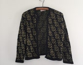 Vintage 70's Black & Gold Cardigan / Metallic Rose Print Sweater S M