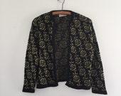 Vintage 70's Black & Gold Cardigan / Metallic Rose Print Sweater S M