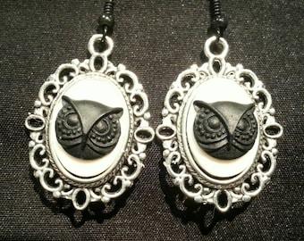 Owl Cameo Earrings