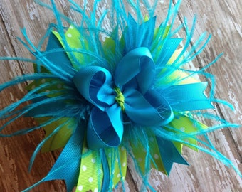 Blue and Green Boutique Bow, Big Bow, Stacked Bow, Feather Bow, Polka Dot Bow, Over the Top, OTT Bow, Baby Bow, Toddler Bow, Big Feather Bow