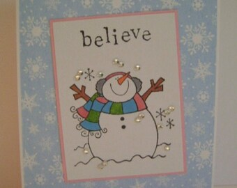 CLEARANCE *** Snowman*Snowflakes* Believe holiday note card