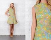 Blue + Pink Mod Psychedelic Dress Vintage 60s  Mini Floral print XS 8073 vintage dress 60s dress blue dress mini dress xs dress