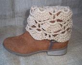 Cream Fan Stitch Crochet Boot Cuffs