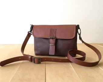 Leather Crossbody Bag - Shoulder Bag - Brown Leather Clutch - Adjustable Strap - Crossbody Clutch Small - Small Leather Bag