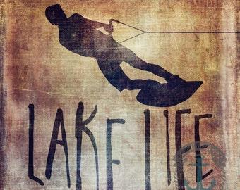 Lake Life Distressed Wakeboard | Lodge Wilderness Chic Wall Decor | At Checkout, Choose Lustre Print or Gallery Wrapped Canvas