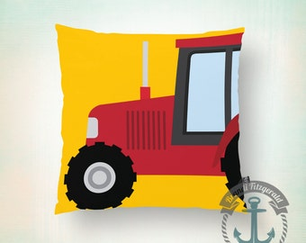 Big Red Tractor Throw Pillow | Farm Life Nursery Kid's Room Home Decor  Product Sizes and Pricing via Dropdown Menu