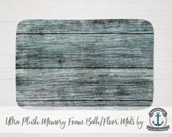 Plush Bath Mat - Minty Wood Plank Beachy | Thick Memory Foam + Mold Resistant | Choose Size at Checkout.
