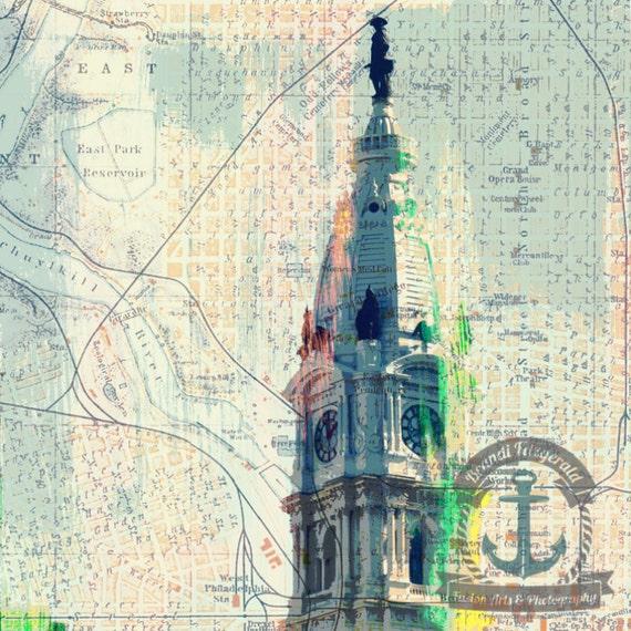 Philadelphia City Hall Schuylkill River Vintage Map Landmark Decor Product Options and Pricing via Dropdown Menu