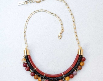 Brown&mustard colors Agate Necklace by Pardes