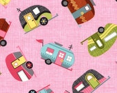 Motorhome Campers on Pink from Timeless Treasure's Under The Stars Collection