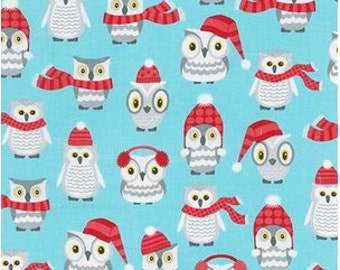 Winter Owls on Aqua from Robert Kaufman's Polar Pals by Andie Hanna