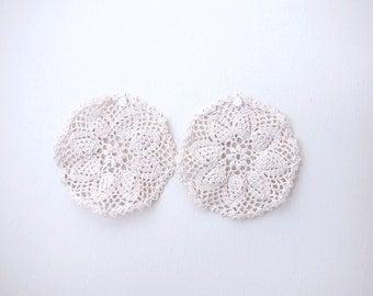 Antique Style Handknit Crochet Dollies Coasters (2pcs)