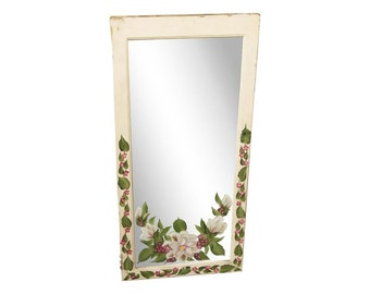 Painted mirror with magnolia designs