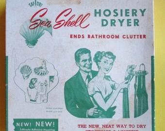 Sea Shell Hosiery Dryer, Vintage Hallmark As Seen On TV, Scarf Gloves Sock Dryer, 50's Bathroom Accessory, Retro Decor, Clear Plastic