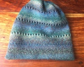 Wool knit hat, wool beanie, sea green