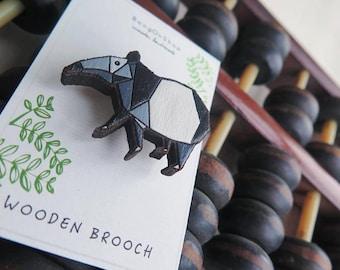 wood laser-cut Tapir brooch.