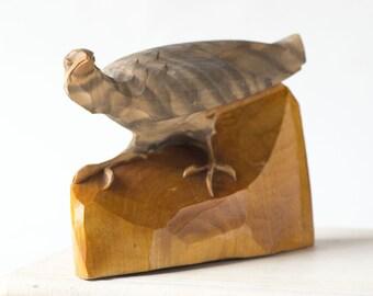 Vintage vulture figurine, small vulture wooden, hand carved brown vulture bird figurine home decor