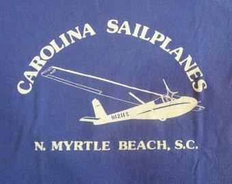 Vintage 80s Carolina SailPlanes N1211S North Myrtle Beach Sout Carolina Navy Blue T-shirt