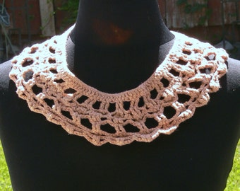 tan Lace Collar hand dyed