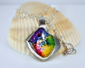 Multi-color Solar Quartz Pendant Necklace, Sterling Silver Bezel &  chain, handmade clasp, colorful, bright, unique, trendy  gift  under 50