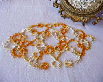 Handcrafted Tatting Doily multicolor - handmade doily - Home decor - Housewarming gift - lace doily - gift for her - table decor - for home