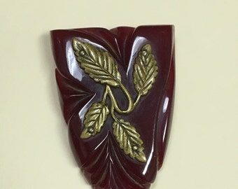 FREE SHIPPING Vintage Dark Red Bakelite Brooch with Leaf Design Converted From Dress Clip