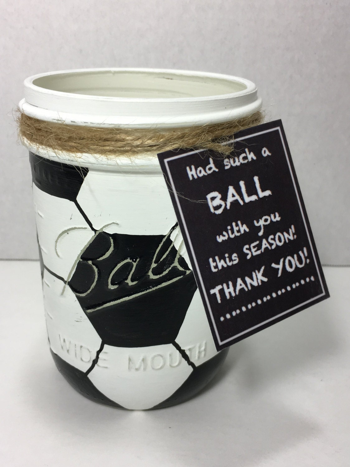 Soccer Ball Mason Jar Hand Painted Soccer By