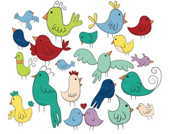 20 Doodle Birds VG-014 Hand Drawn Digital Clipart Printable Images Vectors Graphics Chicken Chick Birdy Cute Bird whimsical robin blue jay