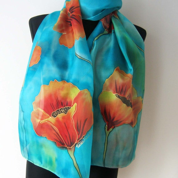 poppies scarf painted silk scarf and by