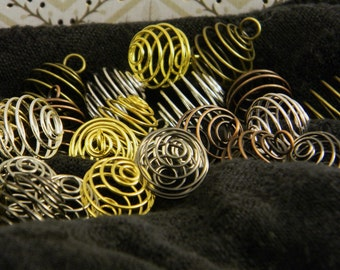 Mixed Metal Medley of 25 Coil Cages DIY Pendants and Beads