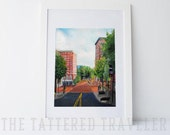 Poinsett and Main | Main Street, Greenville, South Carolina Painting | Giclee Art Print
