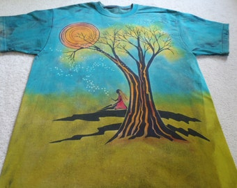 Fireflies on a warm summer's night, young girl enjoying  a full moon with glow in the dark fireflies, man's XL t-shirt, discharged and dyed