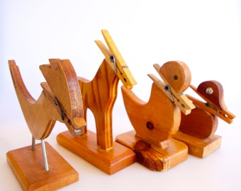 handmade wooden clothespin animals set of four