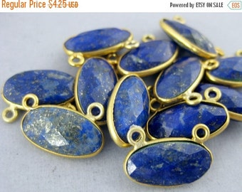 12% off Wholesale Bezel Connector-Lapis Lazuli Station Oval Connector- 16mm x 8mm Gold Vermeil Bezel Link - Double Bail Charm Pendant  (S8B5