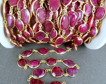35% off Wholesale Dyed Ruby in a Gold Layered Bezel Station Connector Chain (CHN-147)