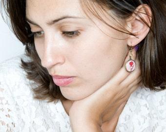 Pink Earrings - Flower Earrings - Art Jewelry - Red Tulip Earrings - Earrings - Vintage Style Jewelry - Unique Earrings (0-70E)
