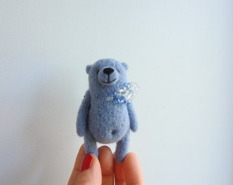 Needle Felted Blue bear brooch, Miniature animal, gift for friend, in the box, handmade brooch, eco friendly wool toy