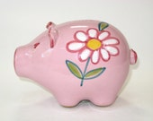 Mid Century Modern Italian Pottery Pink Pig Piggy Bank - Raymor Era Hand Painted Flower Power Coin Bank