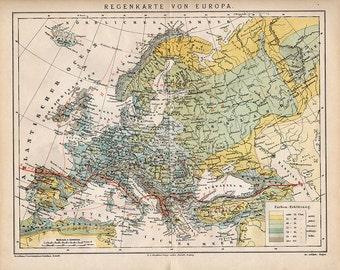 SPECIAL 1882 Vintage Antique EUROPE RAIN Map, original uk Italy France Spain Austria Germany 1882