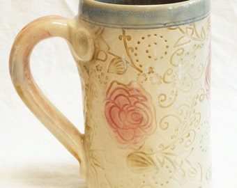 ceramic red flower coffee mug 16oz stoneware 16A040
