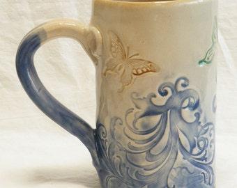 ceramic hand built butterfly coffee mug 16oz stoneware 16A090