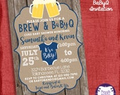 Brew and BabyQ Baby Shower invitation- Barbecue baby shower - Coed Baby Shower Invite-Couples Shower- I design, you print