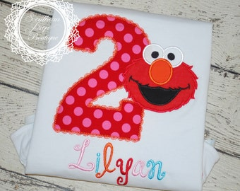 Girl's Elmo Birthday Shirt - Birthday Applique Shirt - Girl's party designs - Disney