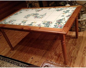 Solid Wood Hand Painted Ceramic Dinning Table ( Made in Italy) (Or Best Offer) Sale* Sale * Sale