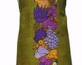 Metro Retro Tea Towel Fruit & Vegetables on Olive .  HANDMADE Kitchen Apron . - Birthday Christmas  Gift Idea . OOAK . Upcycled