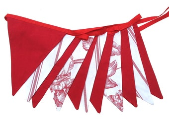 Valentines's Day Red & White Botanica Style Flag Bunting . Party Banner Hanging. Handmade .