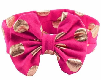 Big Bow Headband - Lavender Hot Pink Blue Black White Gold Head Wrap Polka Dot Stretchy Headband  Baby Toddler Little Girl