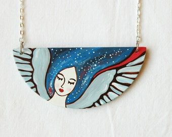 Statement galaxy necklace angel necklace, wing necklace, half moon necklace ,nebula necklace