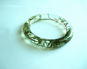 Hand Made Green moss Resin Bangle,Real flowers and leaf,Gift idea
