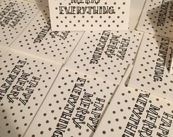 HAPPY MERRY EVERYTHING - Holiday Letterpressed Cards - Black and Gold with Envelope